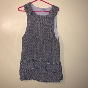 Gray mini overall style dress Small
